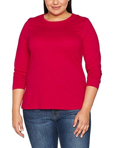 Lange Ärmel Plus Größe T-shirt (Ulla Popken Große Größen Damen Basic Langarmshirt Rundhals Rot (Rot 57), 56 (Herstellergröße: 54+))