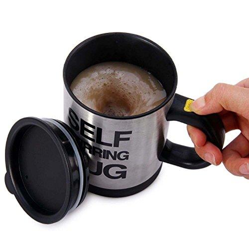 Enshey Mélangez automatique la tasse à café avec couvercle, tasse de mélange automatique café remuant café commode et rapide - Noir