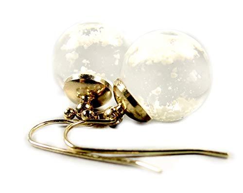 Ladyville Ohrringe Schneekugel mit Schnee und speziellen Wasser in einer Glaskugel/Geschenk für Sie/Kindheitserinnerung / Geburtstagsgeschenk