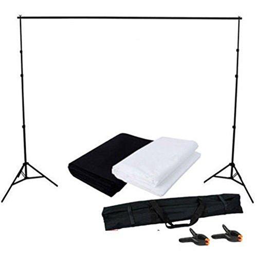 MVPOWER Profi Studio Hintergrundsystem Fotostudio Teleskop Fotoständer Kit inkl. Hintergrund Stoff weiß, schwarz(nonwoven) + Tragtasche...