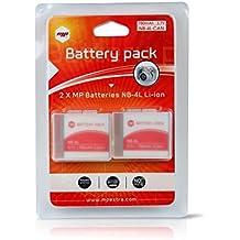 2 x Batería MP EXTRA ® NB4L, NB-4L para cámaras digitales CANON