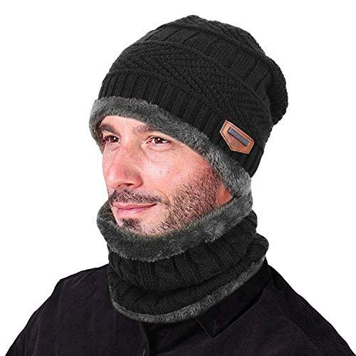 Knit Winter-schal (Wintermütze Beanie Hut mit Schal Set Slouchy Strickmütze Warme Knit Skull Cap Fleecefutter Hat Herren & Damen)