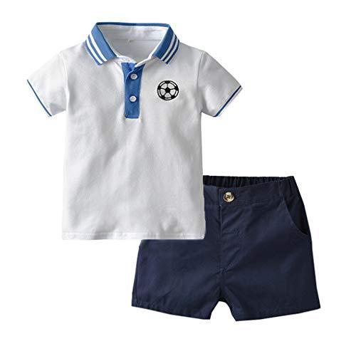 DIASTR Kleinkind Baby Boy Bekleidung Kurzarm Fußball drucken T-Shirt Tops + Shorts Outfits,Jungen Kinder Sommer Kleidung Set Mode Kurze Und Hosen(6M-5T) (Spieler Fußball Mädchen Kostüm)