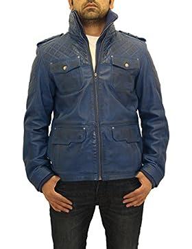 Para hombre de cuero real acolchado Equipada inteligente a largo Safari chaqueta de invierno