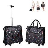 MEYLEE Gepäck-Rollende Käufer-Tasche, Einkaufslebensmittelgeschäft Faltbarer Tragbarer Wagen-Reise-Kasten, Eine Größe,A