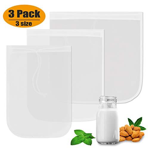 Yoassi 3 x Nussmilchbeutel aus Nylon - Wiederverwendbares Feinmaschiges Passiertuch Besser als Käsetuch Perfekter Milchersatz zur Herstellung von Vegane Mandelmilch, Entsaften, Joghurt und Smoothies