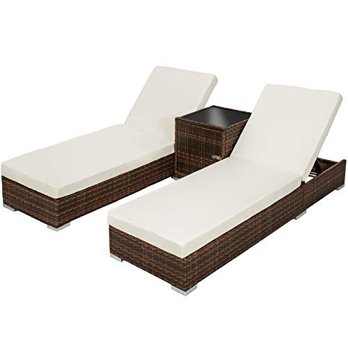 Tectake 2x lettino alluminio poly rattan + tavolo set giardino sdraio prendisole sedia marrone nero + involucro protettivo + 2 federe, viti in acciaio inox