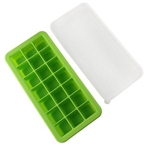vitasemcepli Backform Eiswürfel mit Deckel Silikon Behälter für Lebensmittel aufbewahren und Füttern, Kinder in weichem Silikon Backform für Eis a Kapazität von 3,3x 3,3x 3,3cm (grün)