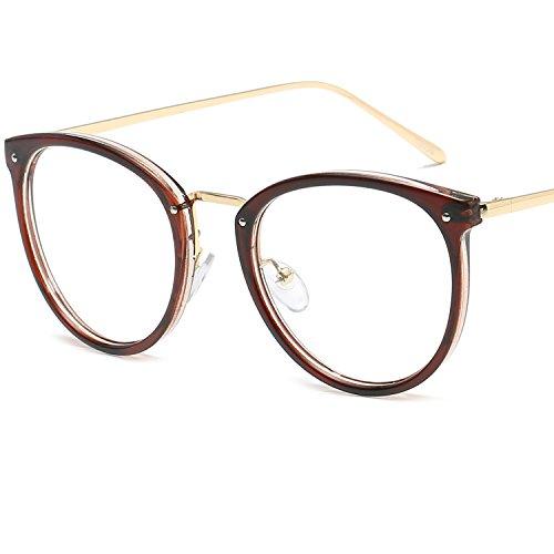 LANOMI Retro Nerdbrille Runde Brille Metallrahmen Ohne Stärke Hornbrille Damen Herren mit...