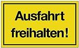 Hinweiszeichen Hinweisschild B 250 x H 150 mm -Ausfahrt freihalten- schwarz/gelb