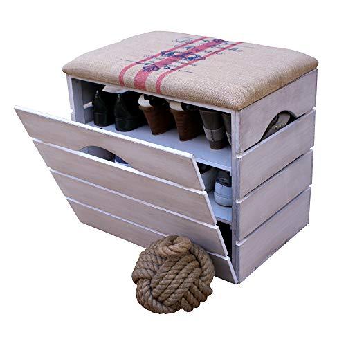 Liza Line® Schuhorganizer mit Tür und gepolstertem Sitz 6 Paar Schuhe Schuhregal Schuhschrank Schuhablage Schuhkommode Schuhbank | umweltfreundlich