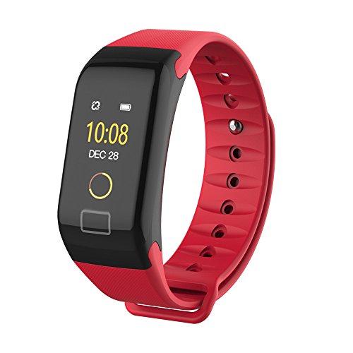 Blue-Tooth Smart Watch F1, Uhr Intelligente Armbanduhr Color Bildschirm Farbe Fitness Blutdruck Sauerstoff Pulsmesser Smart Watch Armband Alles kompatibel Smartwatch für Herren Damen (Rot)