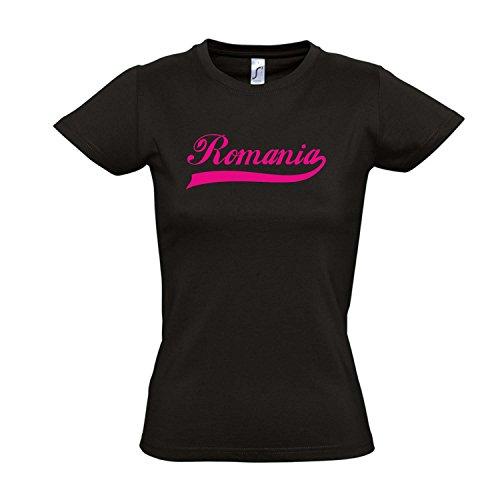 Damen T-Shirt - Romania Oldschool Rumänien LÄNDERSHIRT EM / WM FAN Trikot S-XXL , Deep black - pink , S