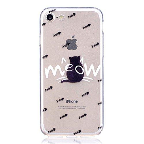 Etui iPhone 8 Housse Souple de Protection OuDu Coque iPhone 8 Transparente * Nouveau Motif * Etui en Silicone TPU Caoutchouc Etui Flexible Lisse Housse Ultra Mince Coque Poids Léger Soft Silicone Case Le dos de chat