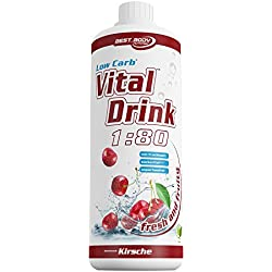 Best Body Nutrition - Low Carb Vital Drink, Kirsche, 1000 ml Flasche