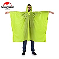Naturehike 3 in 1 Outdoor Camping Backpack Raincoat Portable Hiking Pocho Waterproof Awning(210T.Green)