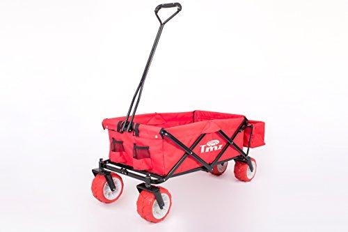 TMZ Bollerwagen 2132B Flamenco Rot/Flamenco Red, extrabreite 360° drehbar PUreifen für Off-Road-Einsätze, zusätzliche Hecktasche, für alle Untergründe geeignet