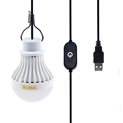 Bonlux USB Kabel Berührt Dimmbare LED Birne 5W Kühlweiß 6000k Tragbares Leuchtmittel mit Schalter USB-Versorgung Lampe für Taschenlampe Camping Beleuchtung zeltlampe Wandern Angeln Wandern Notlicht und andere Outdoor-Aktivitäten
