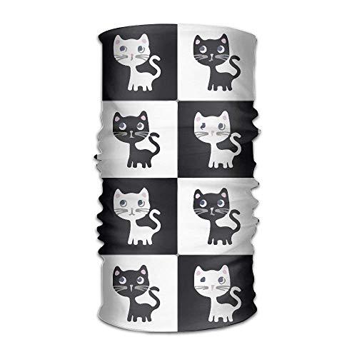 Galleria fotografica quanzhouxuhuixiefu Unisex Bandanas Beanie Cap Turban Headscarf Sweatband Headwear Headscarf Lovely Black White Cats
