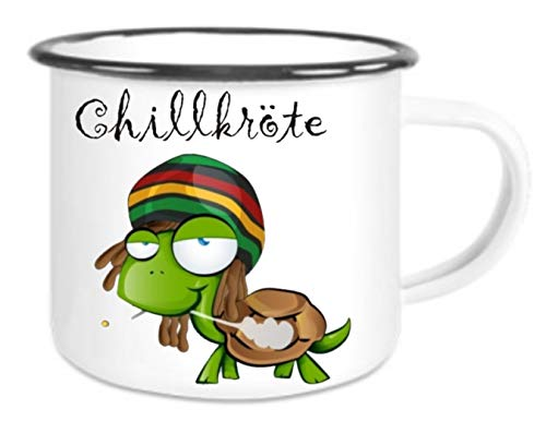 crealuxe XXL - Emaille Tasse mit Rand Chillkröte - große Kaffeetasse mit Motiv, Campingtasse...