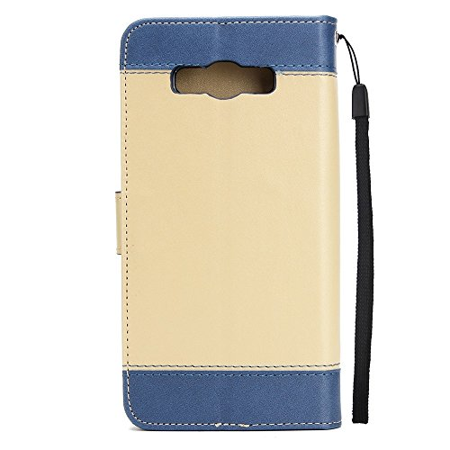 Dual Color Matching Premium PU Leder Flip Stand Case Cover mit Card Cash Slots und Lanyard für Samsung Galaxy J710 ( Color : White ) Gold