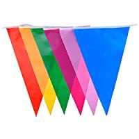 SODIAL(R) Multicolor Polyester Bunting Banner Double Sided Indoor/ Outdoor Party Decoration 10m