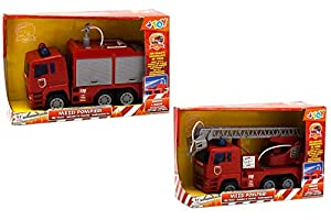 GLOBO- Fireman Friction Truck with Water Shoot 2 Asst. (38210), (1)