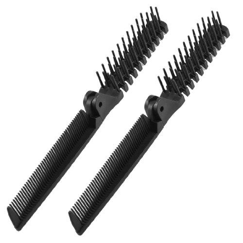 sourcingmap® 2pcs Noir Fishbone forme grossier fin dents 2voies pliable Coiffure Peigne