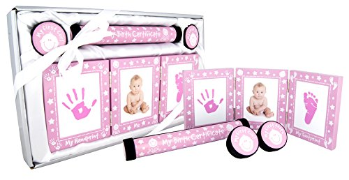 New Baby Girl Christening Gift 4 Piece Keepsake Set, First Curl and Tooth Box, Hand and Footprint Prints Kit (PINK/WHITE)