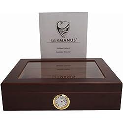 GERMANUS Humidor cave à cigares Mensalla avec Hygromètre et Humidifier et Manuel GERMANUS Brune Foncé