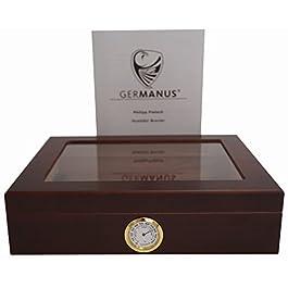"""GERMANUS Sigari Humidor""""Mensalla"""" Con Igrometro e Umidificatore e GERMANUS Manuale Marrone Scuro"""