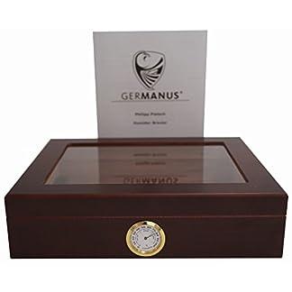 GERMANUS Humidor de Puros «Mensalla» con Higrómetro y Humidificador y el Manual Germanus Libro en Marrón Oscuro