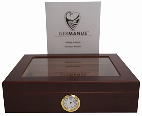 GERMANUS Sigari Humidor Mensalla Con Igrometro e Umidificatore e GERMANUS Manuale Marrone Scuro