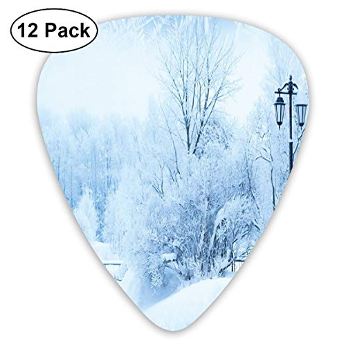 Guitar Picks - Abstract Art Colorful Designs,Winter Trees In Wonderland Theme Christmas New Year Scenery Freezing ICY Weather,Unique Guitar Gift,For Bass Electric & Acoustic Guitars-12 Pack