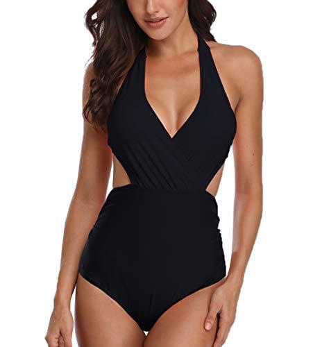 Ajpguot Badeanzug Damen Neckholder Monokini Cut Out Rückenfrei Einteiler Swimwear Push up Bademode Bikini Bauchweg Figurformend Badebekleidung