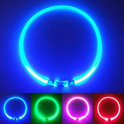 PetSol Ultra Bright USB Rechargeable LED Dog Safety Collar - Cut To Fit Any Size - Rechargeable Lithium Battery - Increased Visibility & Safety For Your Pets from PetSol