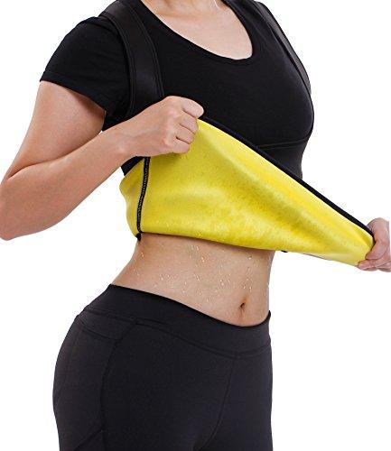Gotoly Damen Corsage Korsett Bauchweg Training Taillenkorsett abnehmen Shirt Taillenformer Fitness (Large, Schwarz)