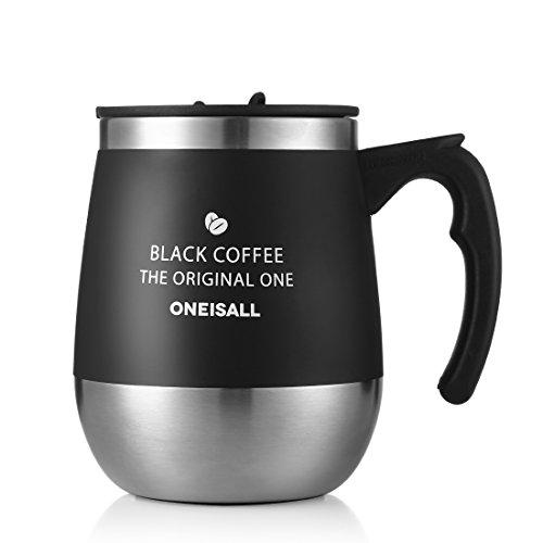 zdzdz Büro Isolierte Reise Kaffee Tasse, Edelstahl isolierte Tasse mit Henkel Kaffeetasse, 444ml, schwarz, - Flasche Deckel Twist Milch Mit