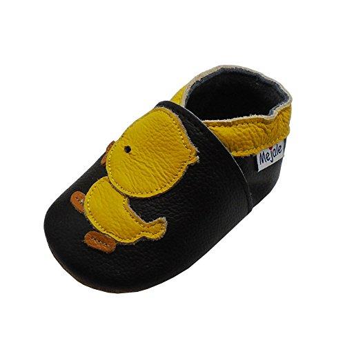 Mejale Karikatur Kleine gelbe Ente Leder Babyschuhe Lauflernschuhe Krabbelschuhe Kleinkind Kinderschuhe Hausschuhe(Schwarz, 24-36 Monate)