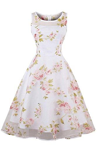 Robe pour femme pour Mariage Invitée Robe de Gala Longue Imprimée à fleurs Blanche Elégante Casual Stretch Swing en Dentelle Simple par MisShow Rose M