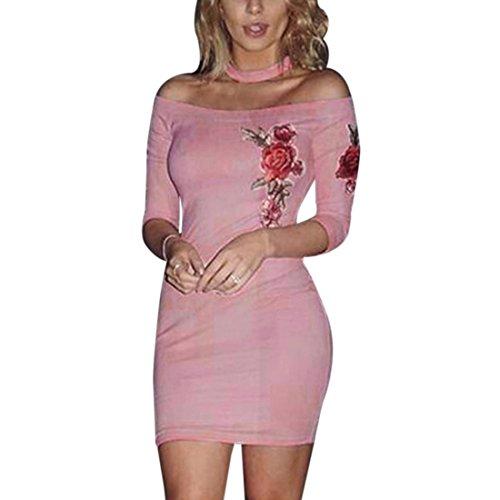 QIYUN.Z Frauen 3/4 Hülsenstickereiblume Bodycon Trägerloses Wiggle Minipartykleid Rosa