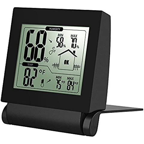 Xintop Higrómetro Digital Inalámbrico Digital Higrómetro Termómetro Monitor Sensor de Temperatura y Humedad para uso en Interiores