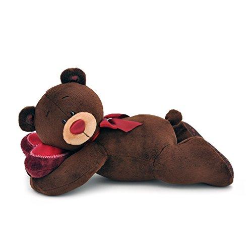Orange Toys C001/20 - Bär Choco schlafend Kuscheltier für Erwachsene und Kinder in Geschenkverpackung, braun/chocolate/rot