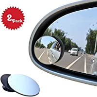 Blind Spot Mirrors, Beeway® Round Frameless 360° Rotate Sway Adjustable HD Glass Convex Mirror Maximize RearView Universal for Car SUV Trucks Traffic Safety - Pack 2