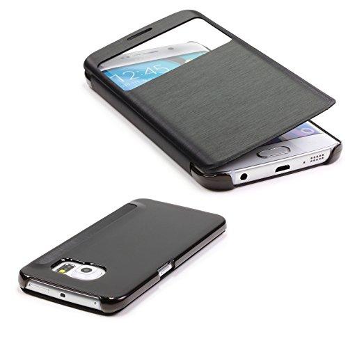 Urcover® View Case mit Transparenter Rückseite | Samsung Galaxy Note 4 Hülle | Kunststoff in Schwarz | Sichtfenster | Transparente Rückseite | Zubehör Tasche Case Handy-Cover Schutz-Hülle Schale (Samsung Note 4 Flip Case S-view)