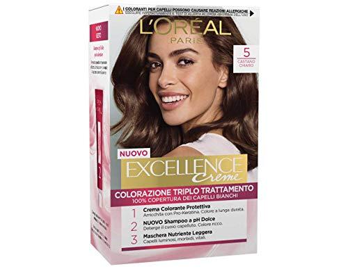 L'oréal paris excellence creme, tinta colorante con triplo trattamento avanzato, copre i capelli bianchi, 5 castano chiaro