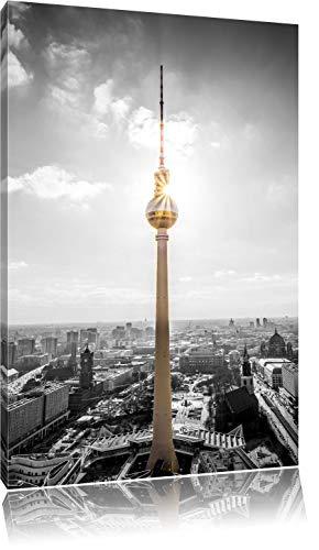 Berliner Fernsehturm am späten Nachmittag schwarz/weiß Format: 100x70 auf Leinwand, XXL riesige Bilder fertig gerahmt mit Keilrahmen, Kunstdruck auf Wandbild mit Rahmen, günstiger als Gemälde oder Ölbild, kein Poster oder Plakat - Nachmittags Leinwand