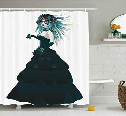 Nyngei Girly Decor Collection Zuckerschädel Mädchen mit Prom Kleid Rosen in der Hand Gothic Halloween Lady Zombie Vampir BildBad Duschvorhang Set Lang Grün Weiß