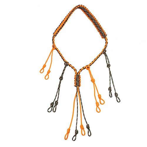 PSKOOK Duck Call Lanyard mit 12 Verstellbaren Schlaufen Outdoor Paracord Jagd Halskette (Orange)