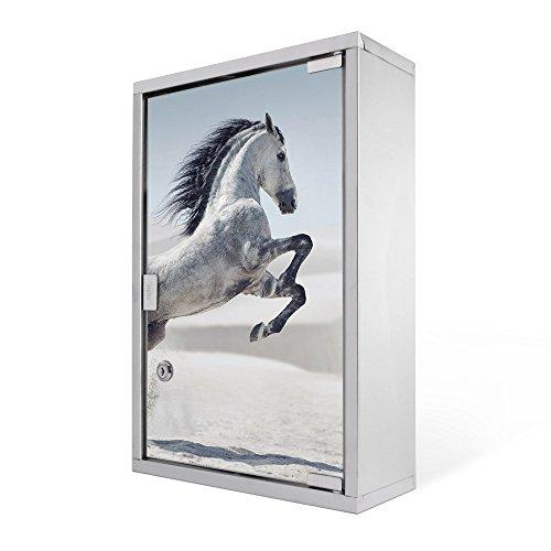 #Medizinschrank groß Edelstahl abschliessbar 30x45x12cm Arzneischrank Medikamentenschrank Hausapotheke Erste Hilfe Schrank Motiv Wildes Pferd#